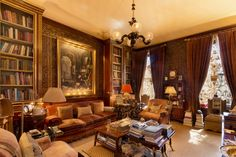 The library's walls are lined with 17th-century leather. - TownandCountrymag.com