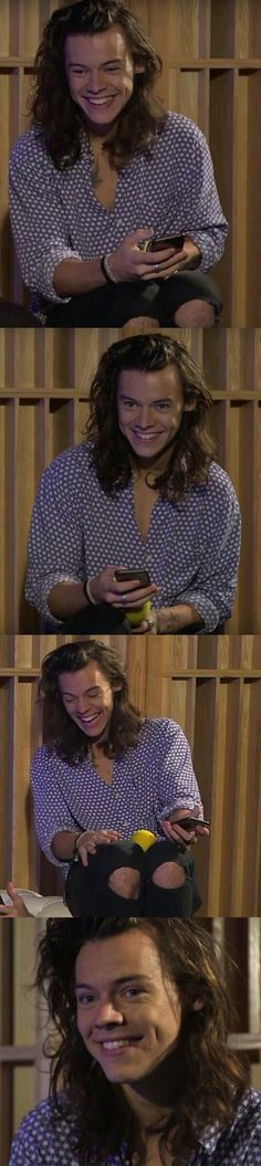 Happy and giggly #harrystyles look at him  this makes my day #1DDE