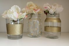 Hand painted gold mason jars Set of 3 pint gold by SEVENTHandJ - could probably make this a DIY