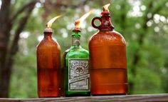 beer/liquor bottles into oil lamps