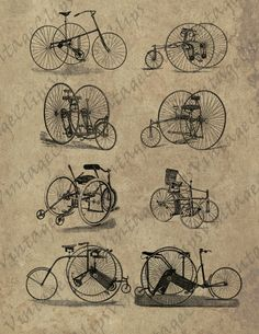 VintageClips digital sheet T003 - Tricycles - high resolution printable vintage illustration for mixed media, etc.