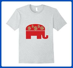 Mens Red Republican Elephant with Dollar Signs $ Money Political XL Heather Grey - Animal shirts (*Amazon Partner-Link)