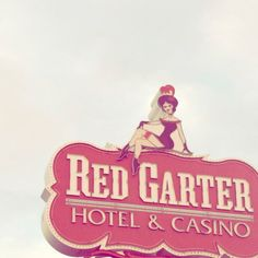 "Red Garter, gambling Neveda, burlesque, vintage show signage, blue and red pastels, pink, fine art photograph 5""x5"". $12.00, via Etsy."