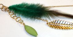 Green Feather Gold Feather and Green Bead by GlorysJewelryChest, $7.99