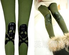 Skull punk tights Pants Leggings  Olive green
