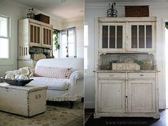 Sadie Olive -- love the white hutch! Cottage Chic, Cottage Style, White Cottage, Shabby Vintage, Shabby Chic, My Living Room, Living Spaces, Farmhouse Chic, Decoration