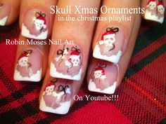 Christmas Nail Art Skull Ornaments by Robin Moses