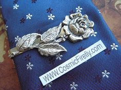 Silver Rose Tie Clip Vintage Inspired Gothic Victorian Men's Tie Clip Silver Tie Clip Men's Gifts For Him