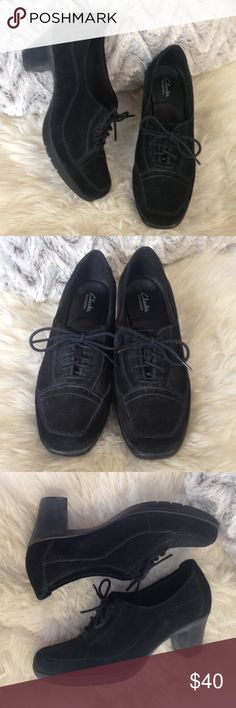 ✨Clarks Bendables Black Suede Booties✨ Stylish suede lace up heels. Good used condition. Size 7.5 Clarks Shoes Ankle Boots & Booties