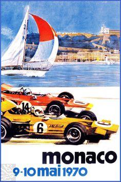 Monaco 1970 Gran Prix Vintage Poster Vintage Art Print Retro Style Vintage Car Auto Racing Advertising Free US Post Low EU post by VintagePosterPrints on Etsy