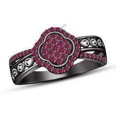 14K Black Gold Plated 1.1/2CT Pink Sapphire Women's Engagement Ring Set #br925silverczjewelry #SolitairewithAccents #WeddingEngagementAniversaryBirthdayGift