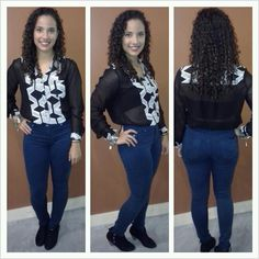 Teal High-Waisted Skinny Jeans by Hudson with Fun2Fun Sheer Black and White Top ~ Apricot Lane Boutique South Florida