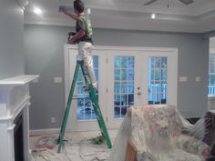 Master bedroom - Seaside Interiors: French Country Living Room Update Languid Blue by Sherwin-Williams French Country Living Room, French Country Bedrooms, French Country Decorating, Country French, French Grey, Living Room Update, Living Room Paint, Living Room Grey, Living Rooms