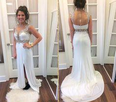 white chiffon side slit beaded long prom dress, PD9775