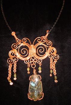 Hand Wire Wrapped Laberdorite with Copper by TheHauserGallery, $150.00