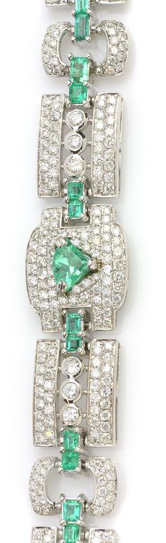See exquisite jewelry on Designer Showcase! Item #126816 4.77 ctw Emerald Multi-shape & 7.70 ctw Diamond Round 18K White Gold Bracelet Length 7.25