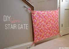 Have an odd stair space? Here's how to create a DIY Fabric Baby Gate with only a few supplies. A full tutorial and video in this post.