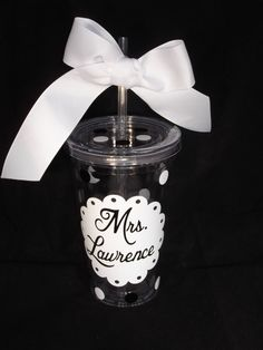Personalized tumbler - classy and crisp :) great gift 16 ounce size on Etsy, $9.00