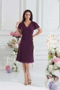 Elegant V-neck Short Sleeve Chiffon Wedding Guests Get wonderful discounts up to 60% at Abbydress using Discount and Voucher Codes.