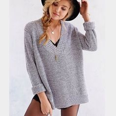 Gray Urban Outfitters Sweater Deep v neck sweater, perfectly oversized. New size medium. silence + noise Sweaters V-Necks