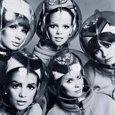 "theswinginsixties: "" Space age helmets for hair protection, 1960s. """