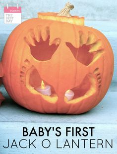 Baby's First Halloween Jack-O-Lantern - Today's the Best Day ALWAYS remember your baby's first halloween by carving their little hands and feet into their jack-o-lantern this year! Babys 1st Halloween, Halloween Jack, Halloween Birthday, Holidays Halloween, Halloween Pumpkins, Halloween Crafts, Halloween Costumes, Gold Birthday, Halloween Decorations