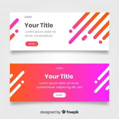 Set of banners with geometric shapes Free Vector Banner Design Inspiration, Web Banner Design, Web Banners, Design Design, Header Banner, Background Design Vector, Brochure Layout, Photoshop Design, Geometric Shapes
