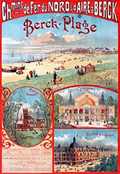 ex-Belgie, Vlaamse taal in FR, verwantschap Belgie en Frankrijk. Affiche chemin de fer du nord - Berck-Plage -