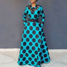 Clocolor Vintage Polka Dot Dress Women Autumn Winter Long Sleeve Printed Tunic Pocket High Waist Afircan Plus Size Maxi Dress Polka Dot Long Dresses, Plus Size Maxi Dresses, Simple Dresses, African Maxi Dresses, African Attire, African Print Fashion, African American Fashion, Africa Fashion, Chic Dress