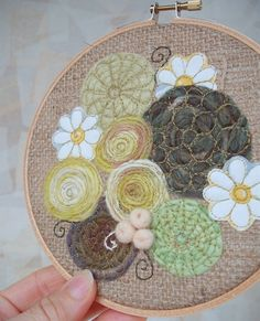 Embroidery Hoop Art 6 inch frame decipts White Marguerite