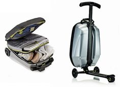 scootcase-micro-samsonite Need these for the kids so they can keep up at the airport! Carry on luggage on wheels with built in scooter! Winner !!!