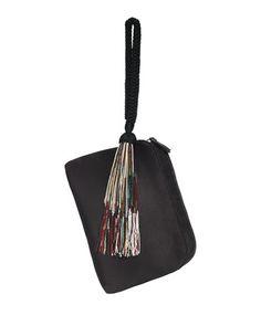 V2R1J THE ROW Satin Wristlet Bag w/Beaded Tassel, Black
