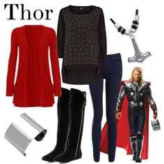 Thor by fandom-wardrobes on Polyvore featuring Warehouse, Reeds Jewelers, marvel, thor, the avengers and avengers