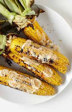 Coating sweet grilled corn with miso butter brings nutty flavor.