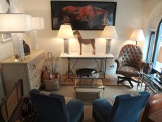 Chic #equestrian #decor with lots of #lighting and #seating in this #NewYork #designidea #interiordesign #NYC #MecoxGardens #furniture #shopping #home #decor #design #room #vintage #antiques #garden