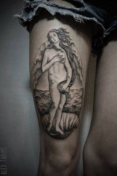 "Sandro Botticelli's ""The Birth of Venus"" inspired blackwork style tattoo on the…"