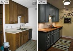 Tiny Condo Kitchen Before And After, With Teal Cabinets And Butcherblock  Countertops. Like The Color Of Cabinets.