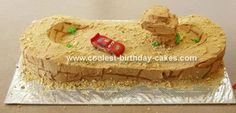 Willy's Butte Dirt Track Cake: I wanted to do a Cars cake for my son's 3rd birthday, but ended up with not a lot of time.  I used the Willy's butte idea from another submitter  who submitted