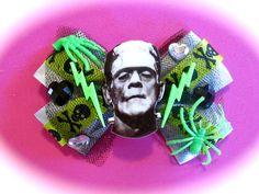 Frankenstein Hair Bow Clip by PinkPandemonium on Etsy