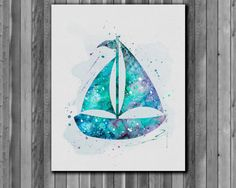 Sailboat poster Nautical wall art  Art Print by digitalaquamarine