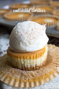 Pumpkin Cheesecake Cupcakes, vanilla and pumpkin cheesecake swirled in cupcake form with graham cracker crust. from ThisSillyGirlsKitchen.com