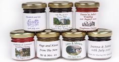 Personalised Wedding Favours - mini jars of jam or chutney