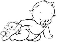 babe and teddy Baby Groot, Baby Coloring Pages, Coloring Books, Embroidery Patterns, Hand Embroidery, Disney Babys, Baby Scrapbook, Digital Stamps, Baby Cards