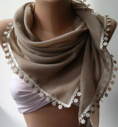 Stone Color  Shawl with Lace  Turkish Shawl  Anatolians by womann, $15.90