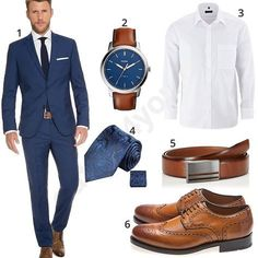 Business-Outfit mit Marzotto Anzug und Eterna Hemd Business style for men with blue Marzotto suit, Fossil wristwatch, White Eterna shirt, Paul Malone tie, MLT leather belt and Gordon & Bros shoes. Business Outfit Herren, Men's Business Outfits, Business Fashion, Business Style, Blue Suit Men, Navy Blue Suit, Navy Suit Brown Shoes, Stylish Work Outfits, Stylish Men