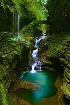 Rainbow Falls_Watkins Glen State Park - Oriel D. Rainbow Falls_Watkins Glen State Park Rainbow Falls_Watkins Glen State Park, New York This place is usually filled with people. The best time to take photos without anybody in the pictures is at 7 am. Beautiful Waterfalls, Beautiful Landscapes, Natural Waterfalls, Beautiful Scenery, Beautiful Landscape Photography, Beautiful Places To Travel, Cool Places To Visit, Amazing Places, State Parks