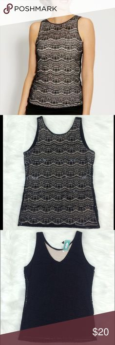 """Maurice's lace tank Gorgeous lace black lace tank with nude underlayer in front, and black in back. Front also has scalloped rows of black sequins. New with tags. Size Medium but fits small as well.  27 1/4"""" length, and 17"""" armpit to armpit. Maurices Tops Tank Tops"""