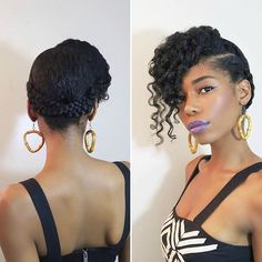 By @chimeedwards Tried out a new up 'do! I made two corn rows on each side and crossed them in the back. I folded the ends of the braids and secured it with bobby pins. I created pin curls in the center and bobby pinned them forward. I tucked most of the curls to the right side and left a few falling in the front. I really love incorporating braids in my styles. #naturalhair #naturalstyles #naturalupdo #protectivestyles #braids #hair2mesmerize #dutchbraids #pincurls #curlyhair…
