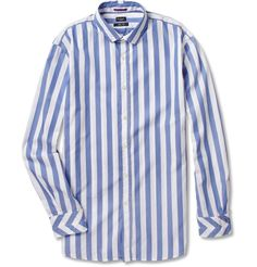 PAUL SMITH LONDON    STRIPED WASHED-COTTON OXFORD SHIRT