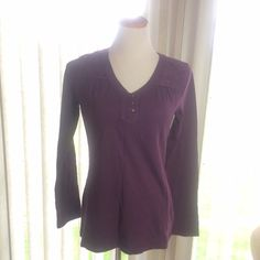 Long Sleeve Top Purple long sleeve top v neck, three button, lace accents on shoulders.. (PB2) Eddie Bauer Tops Tees - Long Sleeve